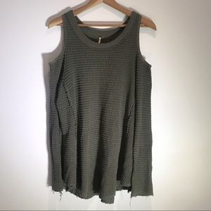 Free People Sweaters - Free People • Oversized Olive Cold Shoulder Knit